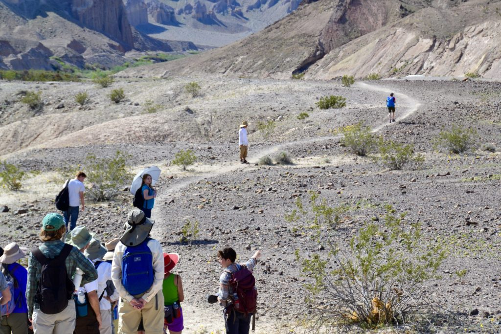 Amargosa Conservancy intern Jayna Saymes leads an interpretive hike along the trail.